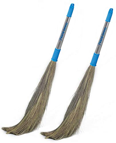 Chand Suraj Pellcaso Long Stainless Steel Handle Eco Friendly Soft Grass Floor Broom Stick for Cleaning -Pack of 2
