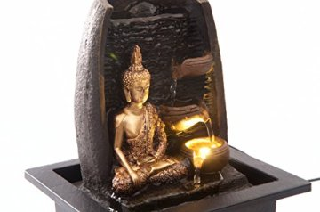 Bibiana Buda Dorado con Tazas de Agua y Fuente de Agua de Interior con luz LED, 21 cm x 18 cm x 25 cm 7