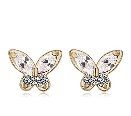 Chapado en oro 18 ct -Pendientes de tuerca Crystals from Swarovski mariposas, color blanco nuevo