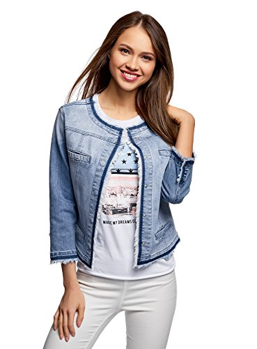 oodji Ultra Donna Giacca in Jeans con Bottoni Automatici, Blu, IT 38 / EU 34 / XXS