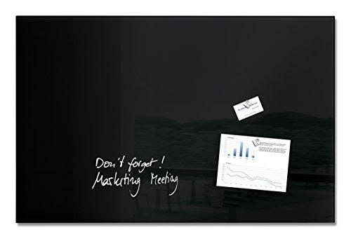Sigel GL140 Lavagna magnetica di vetro / bacheca di vetro artverum, nera, 100 x 65 cm