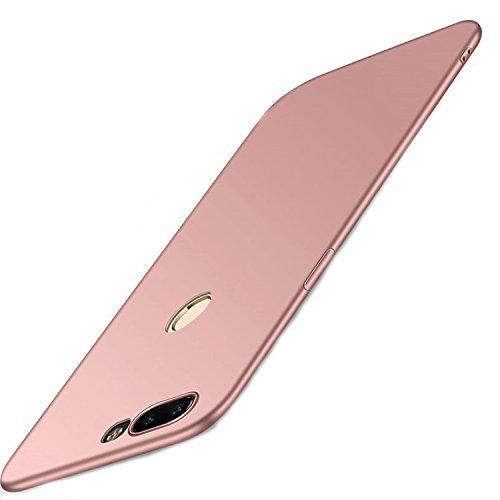 Funda OnePlus 5T, One Plus 5T Caso con [Protector de Pantalla de Vidrio Templado] [Ultra-Delgado] [Ligera] Anti-Rasguño Totalmente Protectora Estuche de Plástico Duro -Rosa