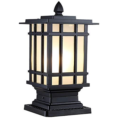 Nero Outdoor Patio Alberino della lampada  Esterno impermeabile IP44 pressofuso in alluminio da colonna pilastro Luce Lanterna  Victoria antiruggine antipioggia paralume di vetro Veranda Lampione