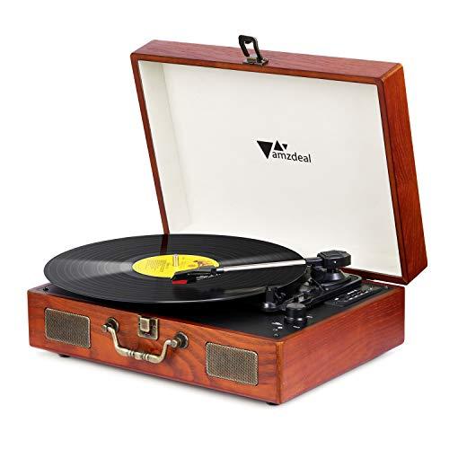 Amzdeal Plattenspieler, Schallplattenspieler Bluetooth Vintage Holzkoffer, Vinyl Plattenspieler 2 Dual-Stereo-Lautsprecher Riemenantrieb mit Kopfhörer, RAC, USB/SD-Karte Aufnahme mit einer Ersatznade