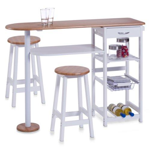Zeller, Bancone Stile Bar per Cucina, con 2 sgabelli: Tavolo 118 x 38 x 89 cm, sgabelli 29 x 29 x 54...