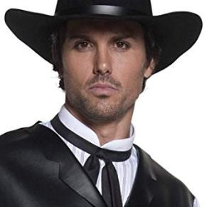 Smiffys-36338 Sombrero de Pistolero del Oeste auténtico, de ala Ancha, Color Negro, Tamaño único (Smiffy'S 36338)