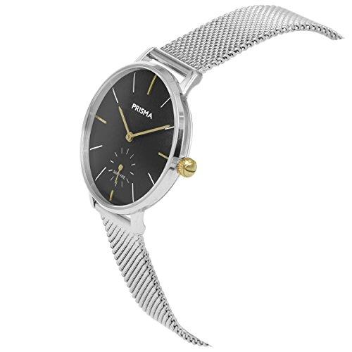 Prisma Damen Armbanduhr Retro Corum, Edelstahl silber mit Analog Quarzwerk, 5 ATM und Saphirglas P.1444 - 2