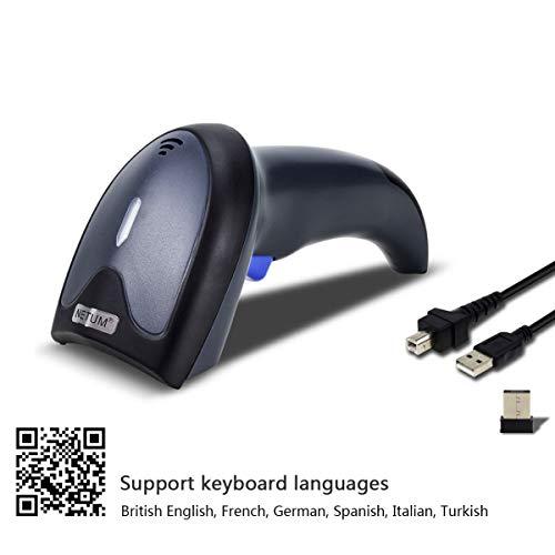NETUM Wireless 2D Barcodescanner - QR Barcodeleser 2.4G Wireless und USB 2.0 Handscanner PDF417 DataMatrix Präzise und schnell lesen | drahtlos oder kabelgebunden für den mobilen Bezahlbildschirm
