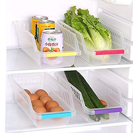 Niyam Multi Purpose Plastic Refrigerator Basket Tray for Fridge for Double Storage Container Tray (Set of 4)