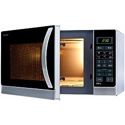 Sharp R-742(IN)W Mikrowelle-Grill-Kombigerät / 25 L / 900 W / Auto-Menü-Optionen / Gewicht- und zeitgesteuertes Auftauen / LED-Anzeige / Grill-Funktion / Zeitschaltautomatik / digitale Steuerung