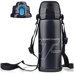 Etbotu Getränkeflasche, Edelstahl Vakuumisolierte Getränkeflasche Tragbare große Kapazität 800ML 2 in 1 Multifunktions Reisebecher mit 2 austauschbare Deckel