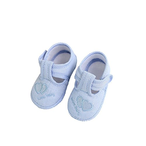 BYSTE Scarpe da Bambino Sneaker Stoffa Anti Scivolo Fondo Morbido Scarpe per Bambini Neonato Ballerine Piatto Scarpine Primi Passi 0-10 Mesi (6-10 Mesi, Blu)
