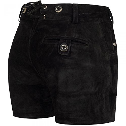 PAULGOS Damen Trachten Lederhose + Träger, Echtes Leder, Sexy Kurz, Hotpants in 5 Farben Gr. 34-50 H1, Farbe:Schwarz, Damen Größe:40 - 2