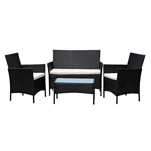 508aecb238e EBS Rattan Patio Garden Furniture Sets Patio Furniture Set Clearance Sale  Wicker White Cushioned Coffee Table + 2 Chairs – Black PE