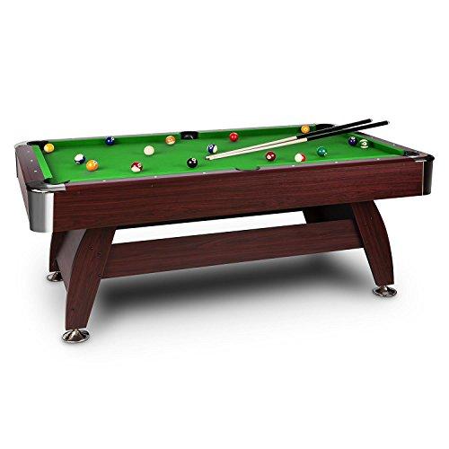 OneConcept Brighton - Billardtisch, Spieltisch, Pooltisch, Kirschholzfurnier, grüne Bespannung, interner Ballrücklauf, 16 Kunststoffkugeln, 2 Queues, Kugeldreieck, 2 x Kreideblock, braun