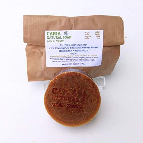 Caria Natural Soap Tutto il sapone da barba naturale con burro di karitè Kokum. Fatto con miele crudo. Rasatura idratante. Fatto a mano in Turchia (1 saponetta)
