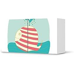 Möbel-Sticker Folie für IKEA Besta Regal Quer 2 Türen | Dekorationssticker Dekor Möbel-Tattoo | Zimmer renovieren Deko Ideen | Design Motiv Funny Wale