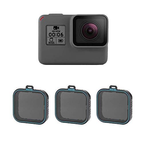 TELESIN Set filtri ND per filtri densità neutri, filtro obiettivi ND4 ND8 confezione da 3 pezzi per GoPro Hero 2018, Hero 5, Hero 6 Camera Lens (ND4/8/16)