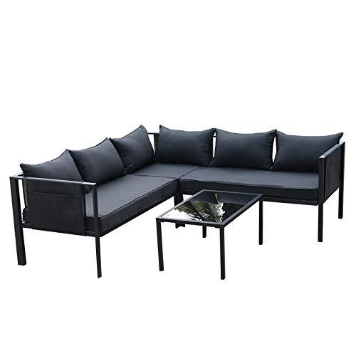 Outsunny Set da Giardino 3 Divani e Tavolino con Cuscini Imbottiti Acciaio e Textilene Nero
