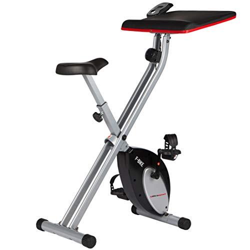 Ultrasport F-Bike Work, vélo d'intérieur avec station de travail, vélo d'appartement, vélo de fitness avec console et capteurs de pouls, pliable, Argent/Noir