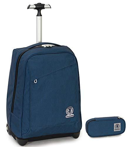 Trolley Invicta + Portapenne Plus - Blu - 35 LT Scuola e viaggio - Eco Material