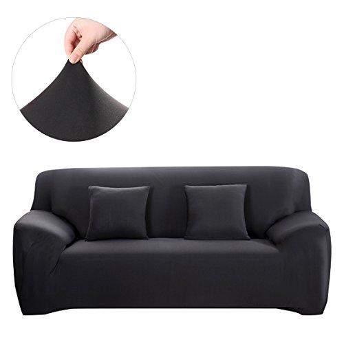 WINOMO funda de Sofá Muebles Protector 2pcs Almohada Casos Elástico Negro