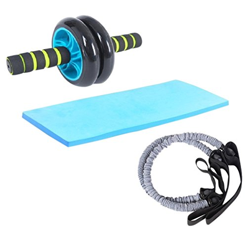 FITSY® UNISEX Dual Wheel AB Roller with 2 Latex Resistance Tubes - For Core Abdominal Workouts and Belly Fat Burner