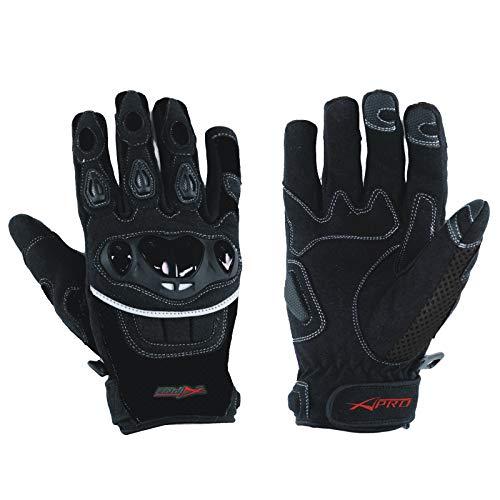 A-Pro - Guanti estivi in tessuto con protezione sulle nocche per motocross/quad, nero, misura L