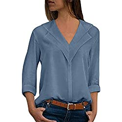 Camisas Mujer Tallas Grandes,❤️ Modaworld Moda Camiseta sólida Mujer chifón Blusas de Oficina de Manga Larga Lisa de Mujer Elegantes de Vestir Fiesta Camisetas Chica (Cielo Azul, 5XL)