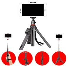 Joby TelePod Kit Black - Monopié extensible, palo selfie, trípode de mesa con cabezal de bola Para; Canon, Nikon, Fuji, Sony, sin espejo, punto y disparos, 360, cámara de acción, vídeo, flash y LED