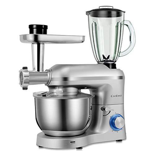 Cookmii Robot da Cucina Multifunzione,1800W Impastatrice Planetaria 5,5 litri, Tritacarne, Ganci per...