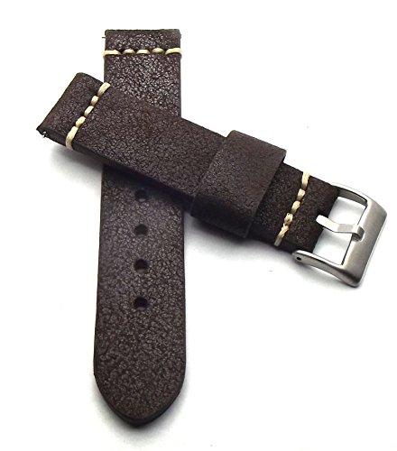 Vintage 22mm Cinturino per orologio Aviatore Marrone Scuro anticato cinturino per orologio in vera pelle di vitello