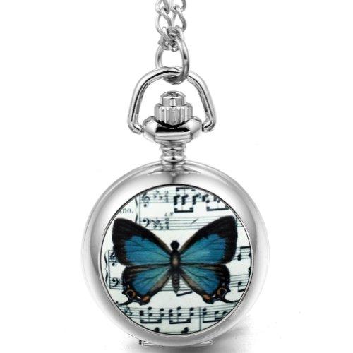 JewelryWe Joyas collar colgante mujer dulce retro elegante, reloj de bolsillo Romántica Mariposa azul, 80 cm de largo, plateado