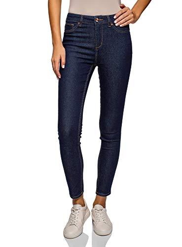 oodji Ultra Damen Jeans Slim Fit mit Hohem Bund, Blau, 28W / 32L (DE38...