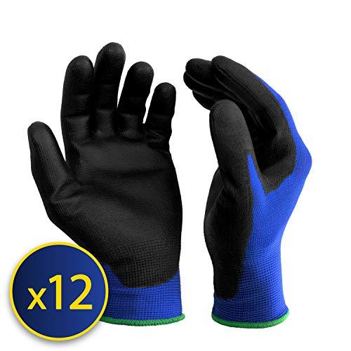 S&R Guanti da Lavoro BASIC 12 Paia fibra di nylon con rivestimento in PU. Guanti di Protezione...
