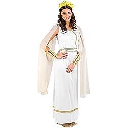 dressforfun Disfraz de diosa griega para mujer reina diosa antiguo   Vestido largo y elegante + excepcional tocado con diseño de laurel, puños preciosos con un toque brillante (S   no. 300198)