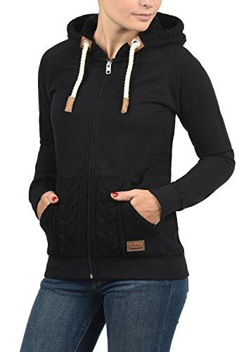 DESIRES Matilda Damen Sweatjacke Kapuzen-Jacke ZIp-Hoodie aus hochwertiger Baumwollmischung, Größe:M, Farbe:Black (9000)