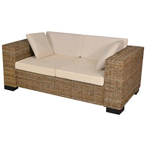 vidaXL Divano Set 7 pz in Rattan Naturale Sofa Sdraio con Cuscini Casa Salotto