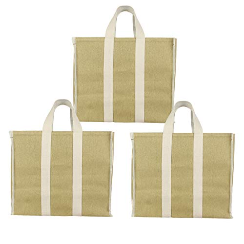 DOUBLE R BAGS Eco Cotton Canvas Shopping Bags for Carry Milk Grocery Fruits Vegetable with Reinforced Handles jhola Bag - Kitchen Essential (17x8.5x14-inches) (Pack of 3) (Beige)