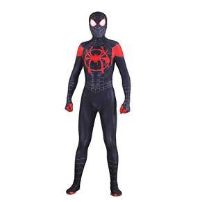 SPIDERMANHTT Spiderman Cosplay Niños adultos Black Spider Halloween Movie Show Props Disfraz Disfraz Impresión 3D Spandex Lycra (Color : Conjoined, Size : XL)