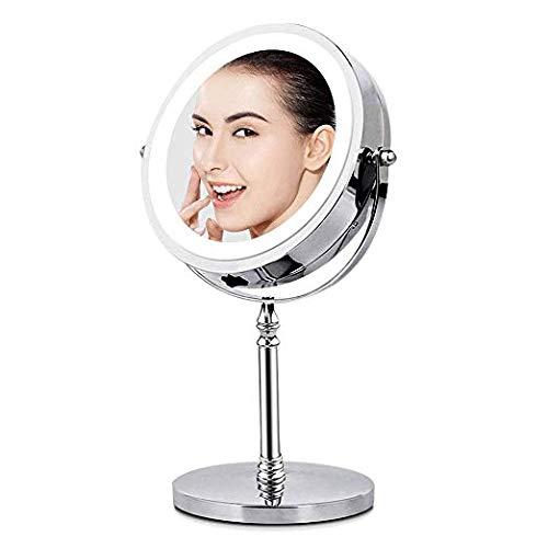 Specchio per Trucco Double Face Specchio Cosmetico Illuminato con Luci LED Ingradimento 1X/10 X...