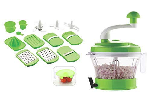 REAL HOMES Manual Food Processor and Chopper Atta Maker, Dough Kneader, 11 in 1 Vegetable Chopper, Slicer, Grater, Veggie Cutter, Vacuum Base, Mixer, Grinder, Juicer (Multi-Color)