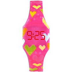 Reloj LED Digital Chica, Infantil y Joven, de Pulsera, Correa de Suave Silicona, Trendy Regalo, Rosa Corazones, Kiddus KI10204
