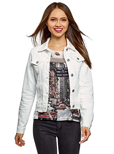 oodji Ultra Donna Giacca in Jeans, Bianco, IT 48 / EU 44 / XL