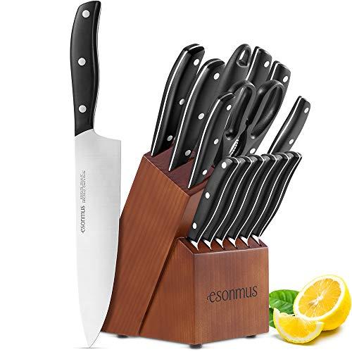 esonmus Set Coltelli, Coltelli da Cucina Professionali da Chef con Ceppo Coltelli in Legno, Set di...