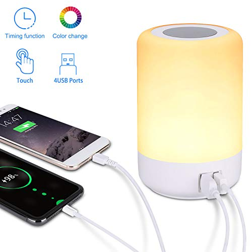 Lámpara de mesa USB, lámpara de mesita de noche LED con 4 puertos de carga USB rápidos, luz blanca cálida regulable de 3 niveles y siete colores que cambian de color RGB y función de sincronización