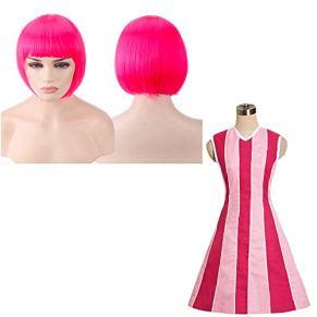 thematys Stephanie Lazy Town Disfraz + Peluca Rosa - Vestido para Damas Carnaval y Cosplay - 4 tamaños Diferentes (L)