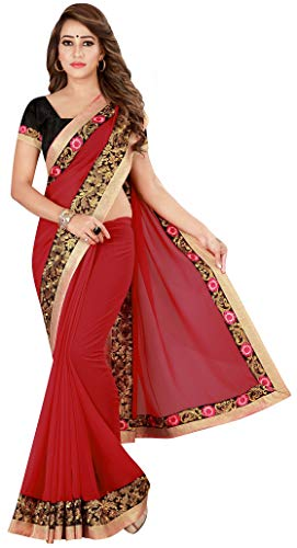 Kuki Red Gerorgette Embroidered Saree With Blouse