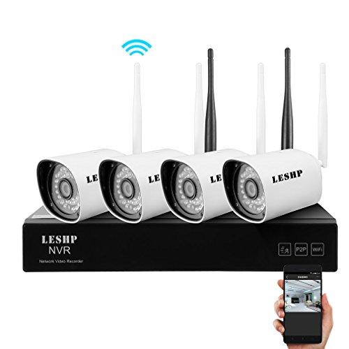LESHP Sistema di videoregistrazione a 4canali, WiFi, CCTV, NVR, sistema di videosorveglianza/di sicurezza con 4 telecamere HD 720p, inserimento e riproduzione, per interni ed esterni