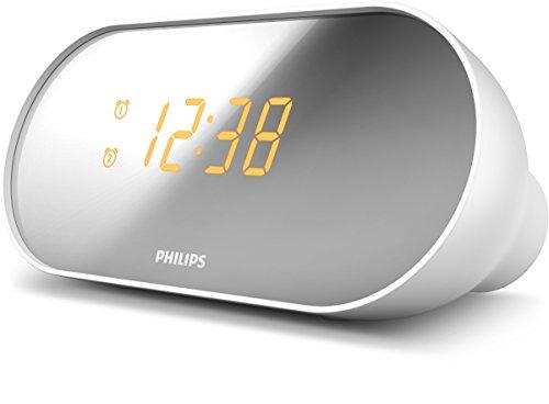 Philips AJ2000 Orologio Digitale Radiosveglia, Due Tipi di Allarme, Bianco
